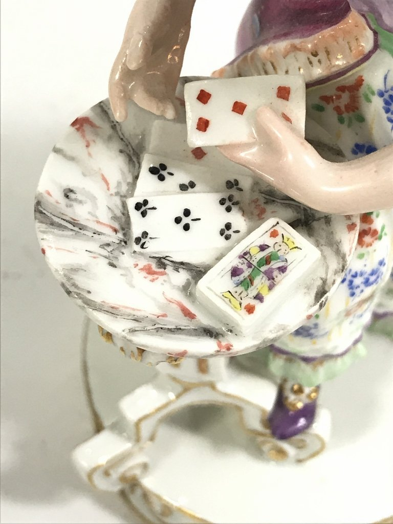 Meissen figurine, lady card player,c.1900 - 7