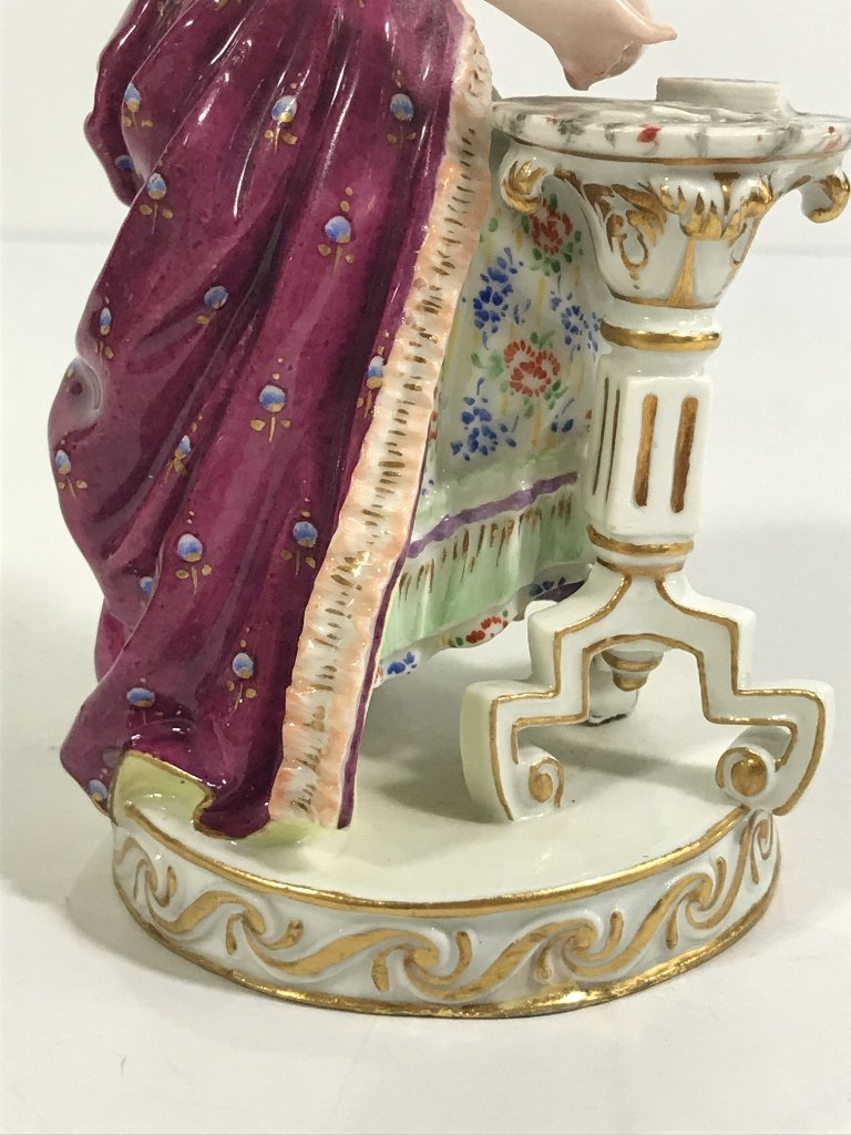 Meissen figurine, lady card player,c.1900 - 9