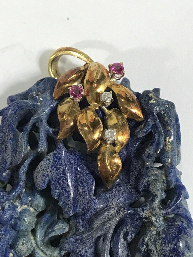 14k ruby diamond  and lapis pendant, c.1935 - 3