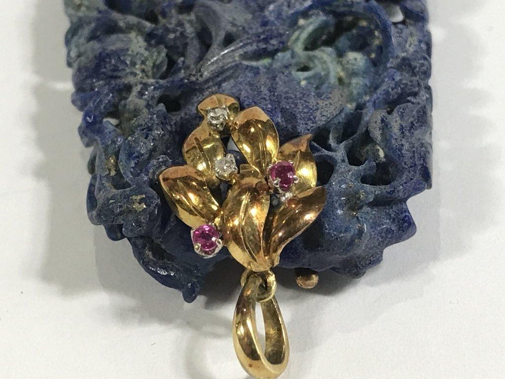 14k ruby diamond  and lapis pendant, c.1935 - 4