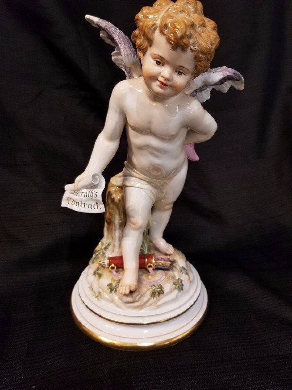 Meissen Angel with shoe and contract, c.1900