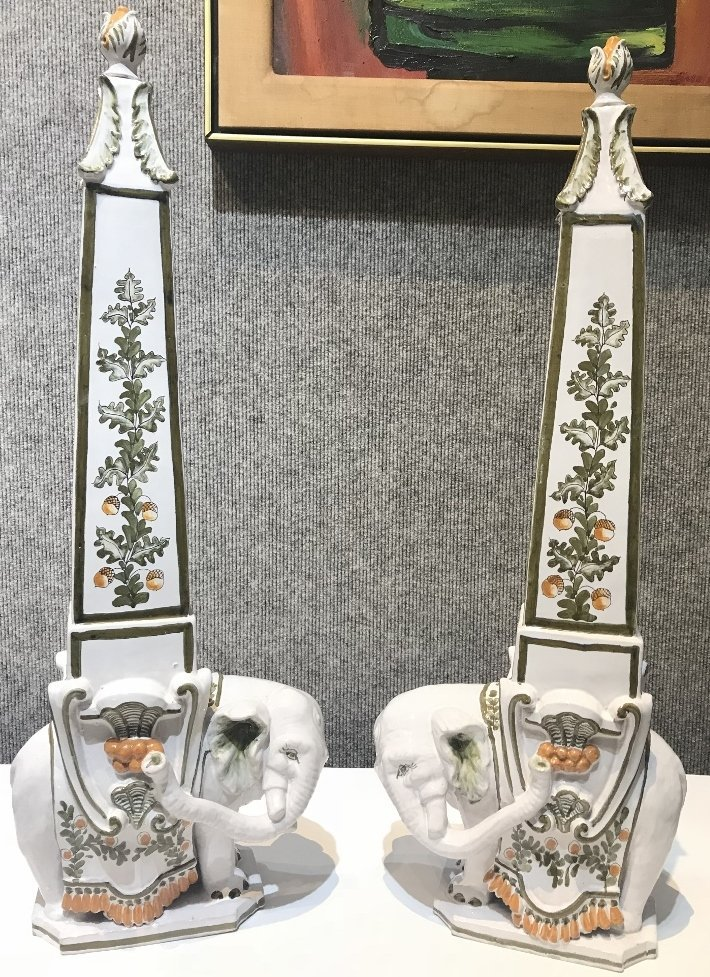 "Pair of ceramic elephant decorations marked:""Italy""."