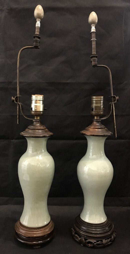 Two similar Celadon Chinese lamps, c.1930