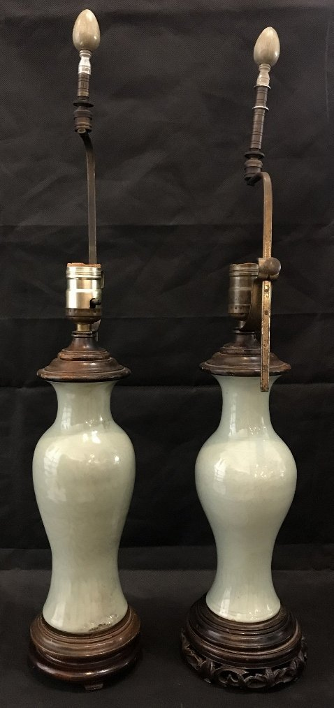Two similar Celadon Chinese lamps, c.1930 - 4
