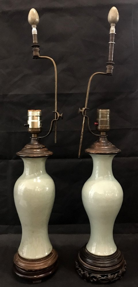 Two similar Celadon Chinese lamps, c.1930 - 5