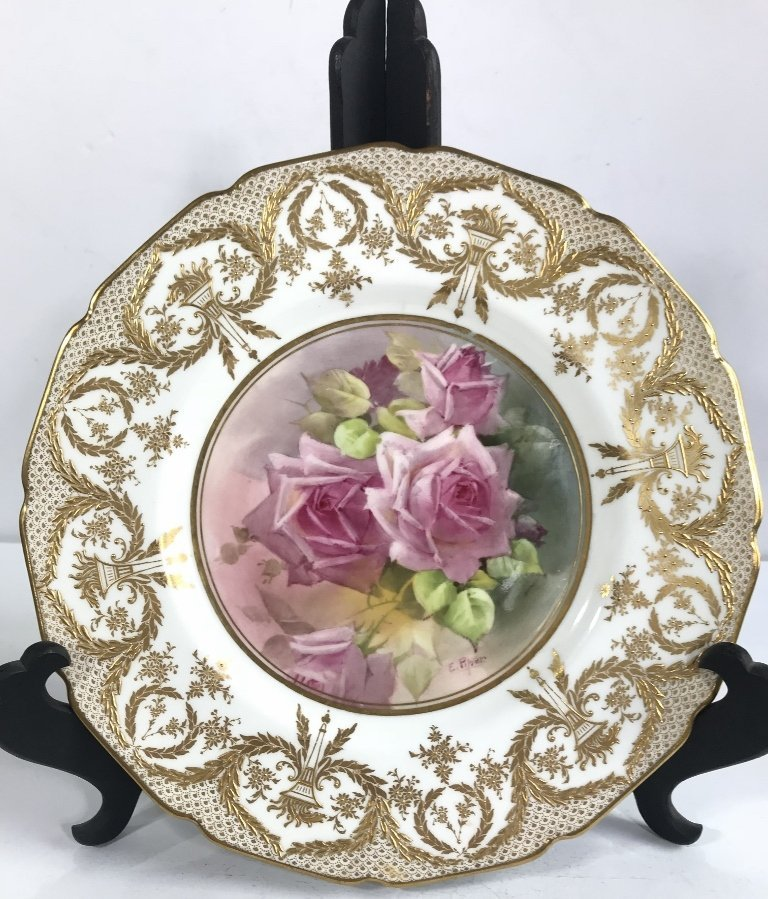 Royal Doulton plate with painted roses, c.1900