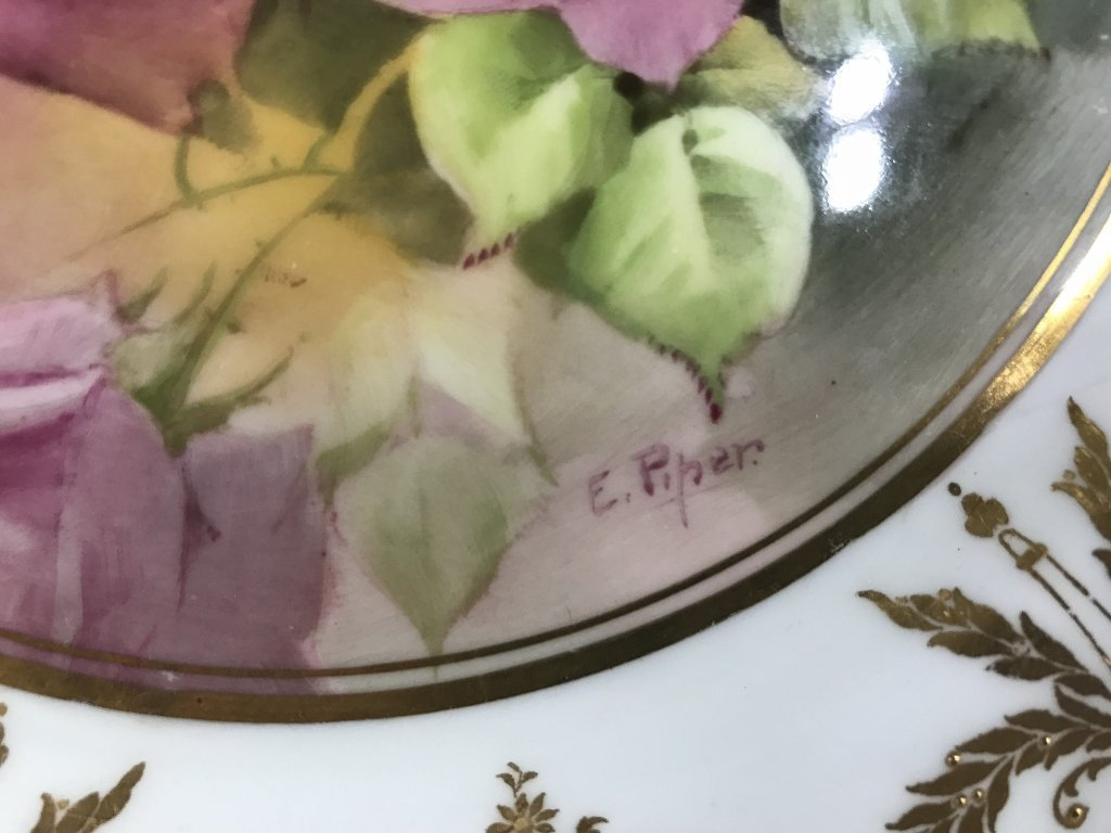 Royal Doulton plate with painted roses, c.1900 - 4