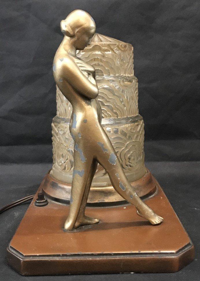 Painted metal art deco lamp, c.1930 - 6