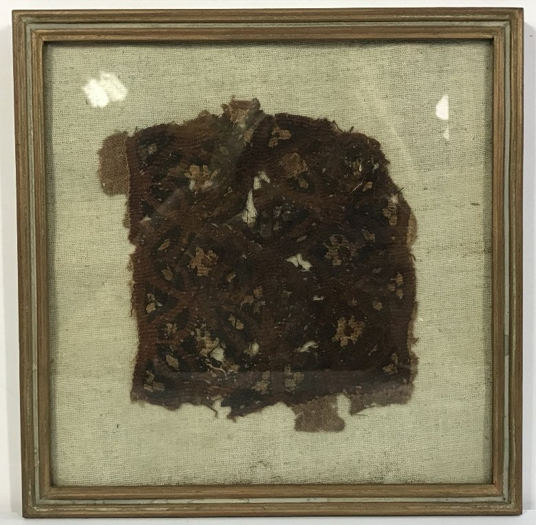 Framed early textile, one piece