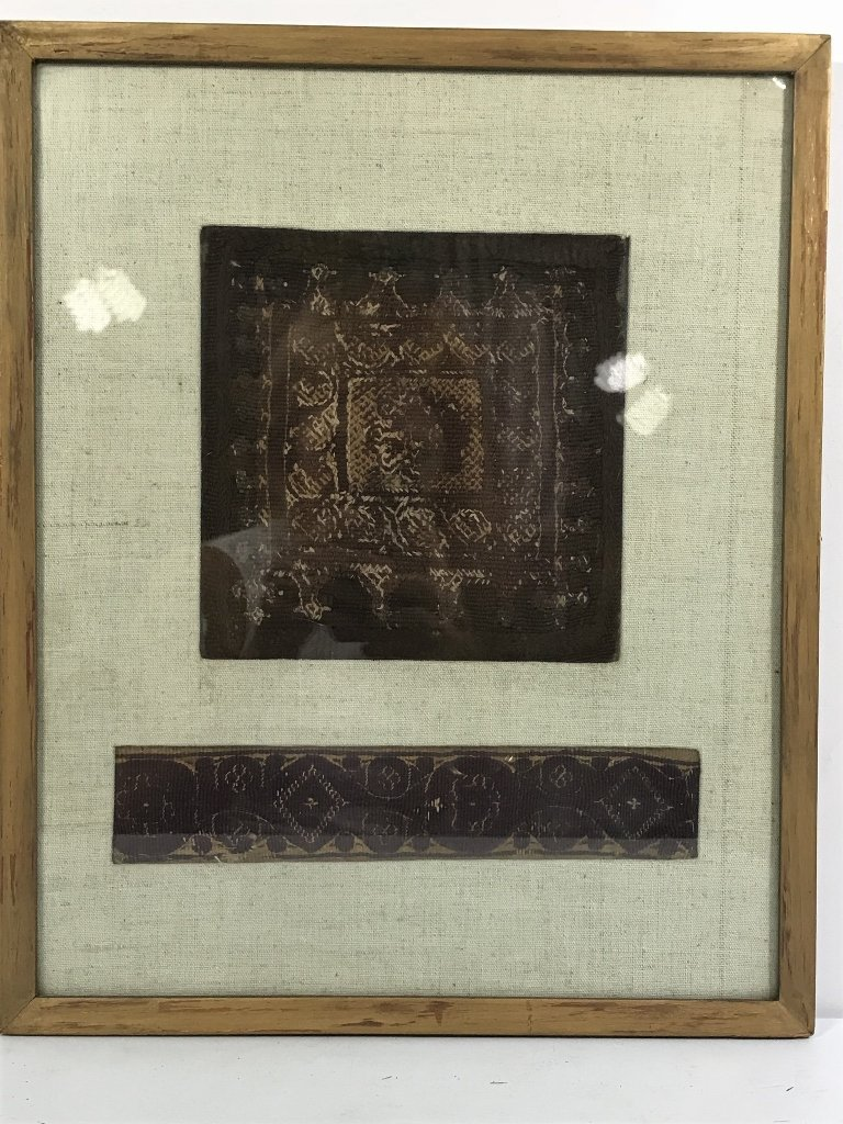 Framed early textile, two pieces
