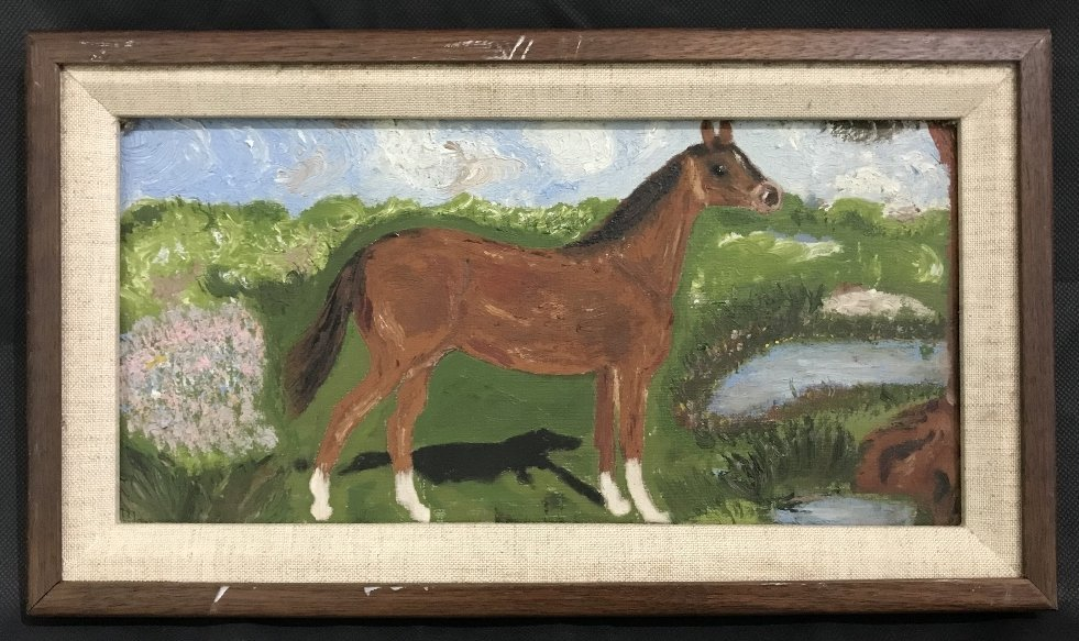Folk art painting of a horse by M & C Mann, c.1900