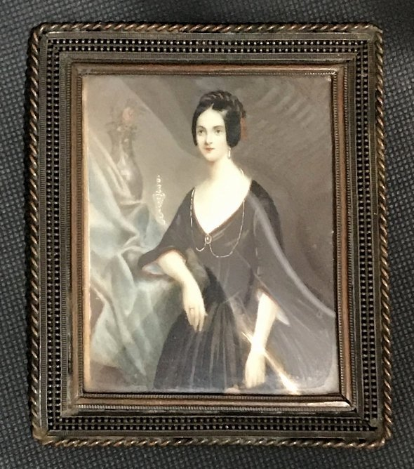 Miniature painting of lady, 19th century