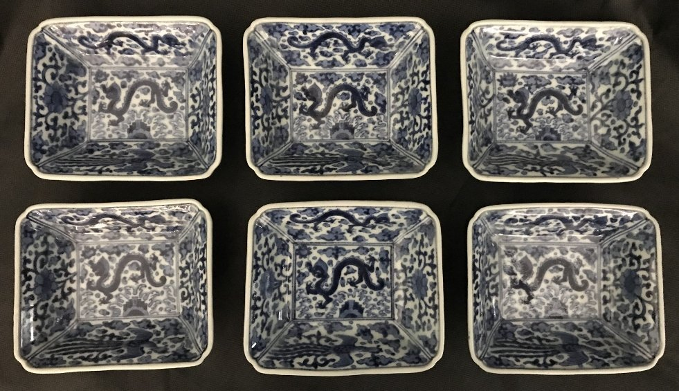 Six Chinese blue and white dragon small bowls