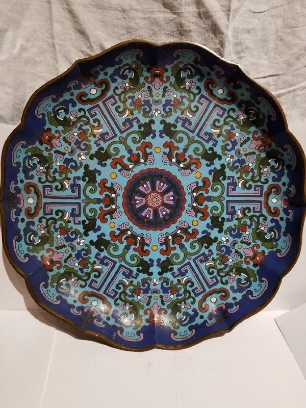 Large Chinese cloisonne charger, c.1900