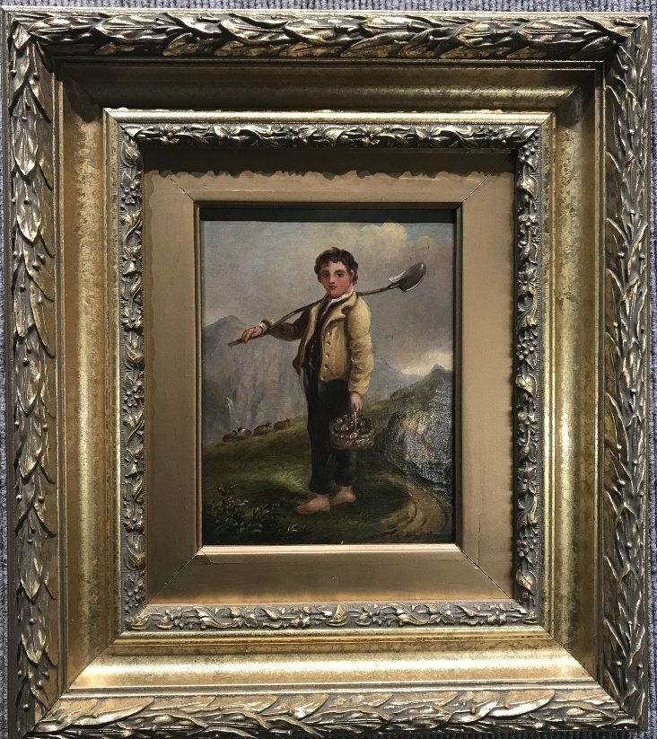 "Painting of boy with shovel signed:""Peterson"",c.1900"