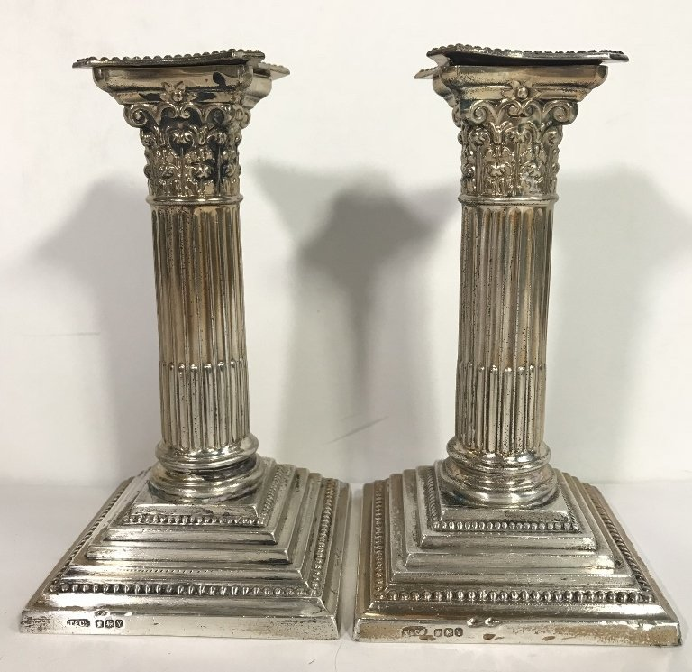 Tiffany & Co sterling column candlesticks, d.1966