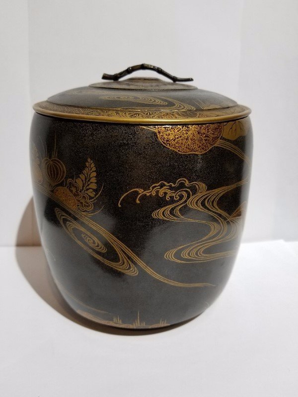 Japanese covered lacquer box, c.1900