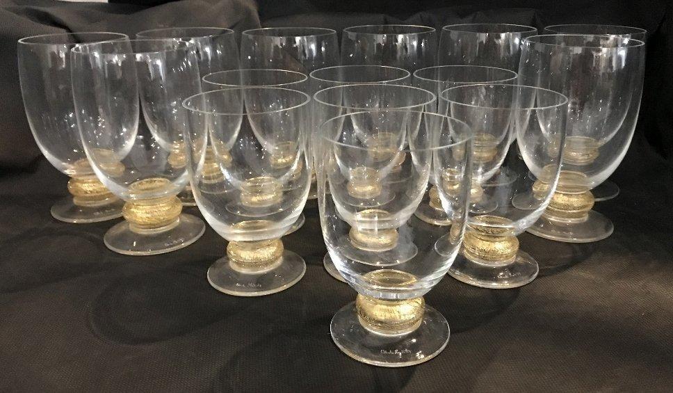 Fifteen signed Carlo Moretti glasses