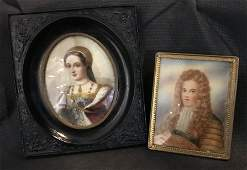 Two miniature paintings, Lord and Lady