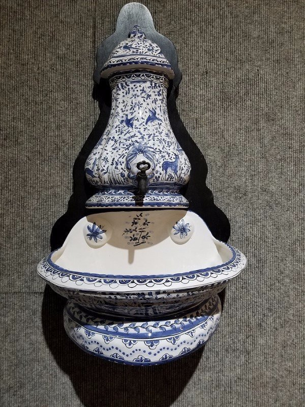 Portugal holy water fountain, faience, 20th century