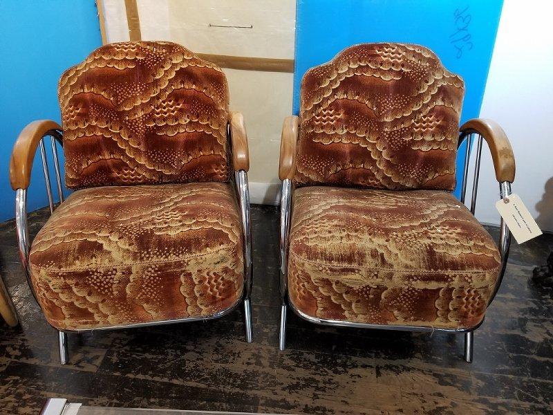 Pair of tubular chrome chairs, attrib Kem Weber
