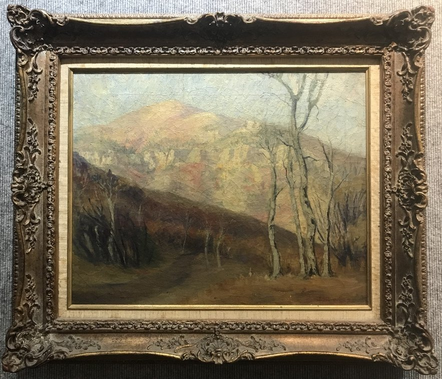 Painting of trees signed John Thomas Rovell, c.1930