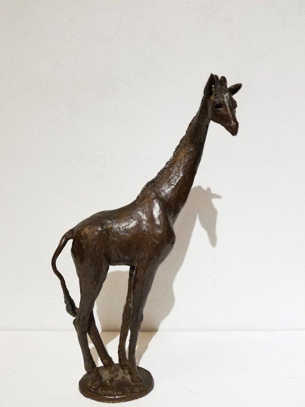 Bronze giraffe by Cynthia Lyman