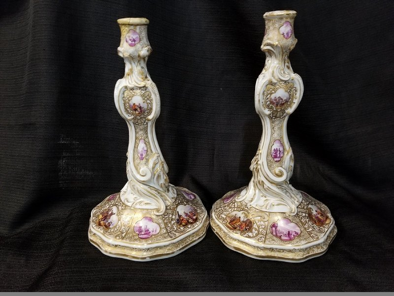 Pair of early Meissen candlesticks