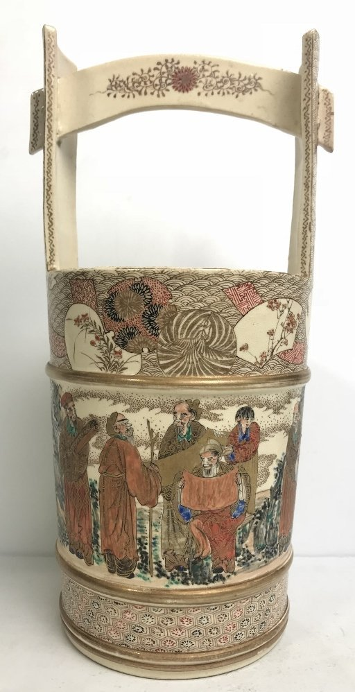 Satsuma basket, c.1900, signed: Yasuda-Zu