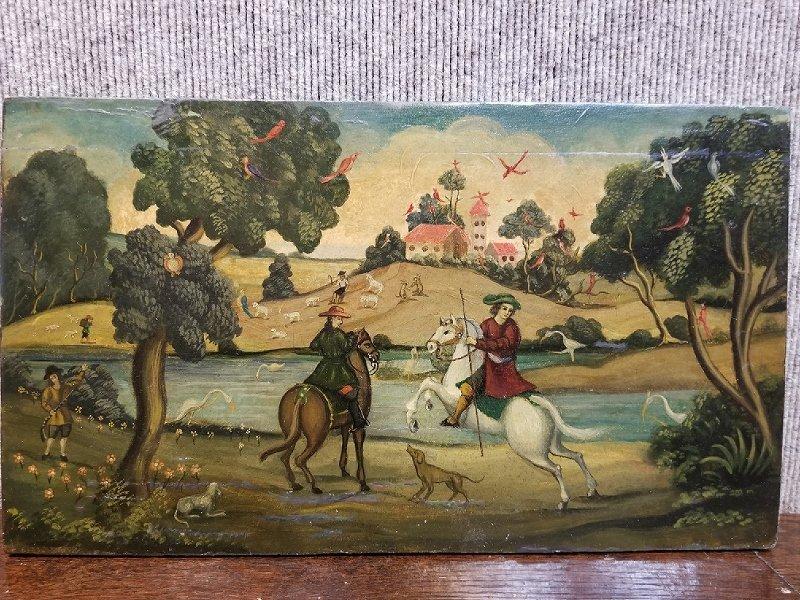 Painting on wood, 18th century hunt scene