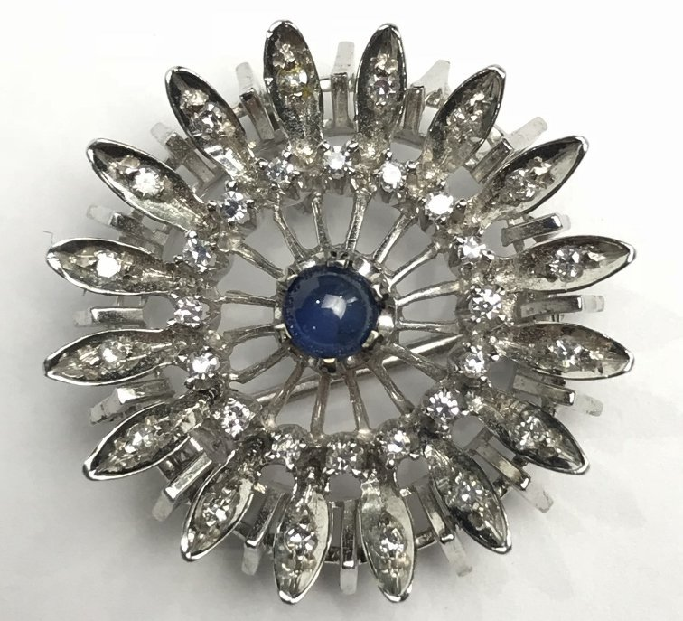 14k diamond and sapphire small brooch, 3.9 dwts