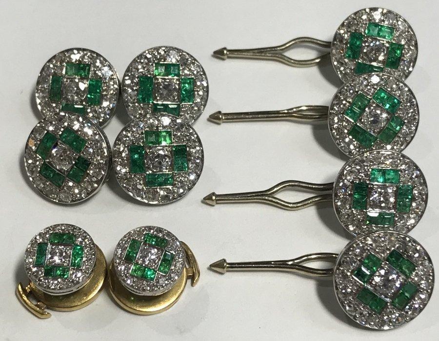 Platinum, emer and diamond Van Cleef tuxedo set, c.1930