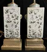 Pair of Chinese white porcelain lamps