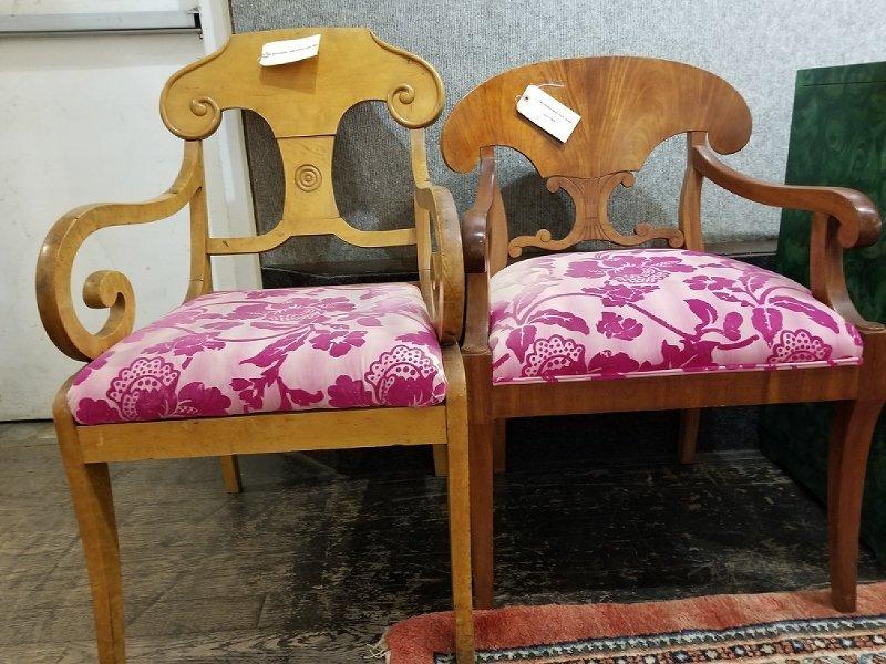 Two Biedermeier style chairs, circa 1900 - 2