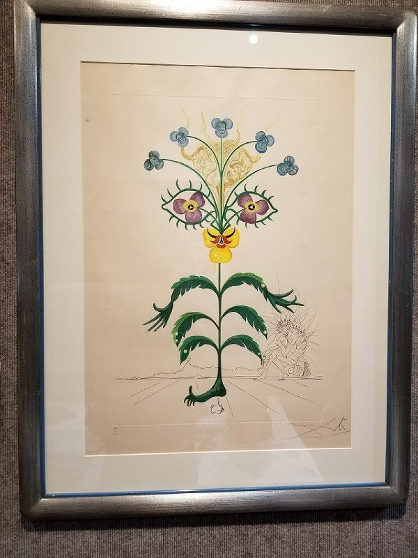 "Large Salvador Dali print of surreal flower 19"" x 27"""
