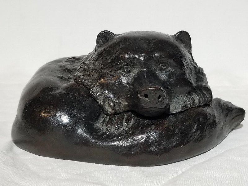 Japanese bronze dog incense burner by Jofu