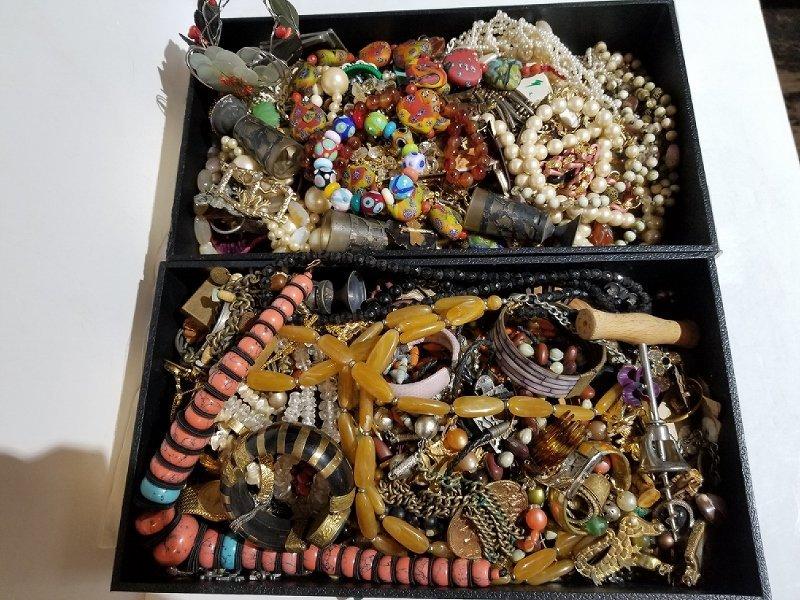 Costume jewelry in 2 trays