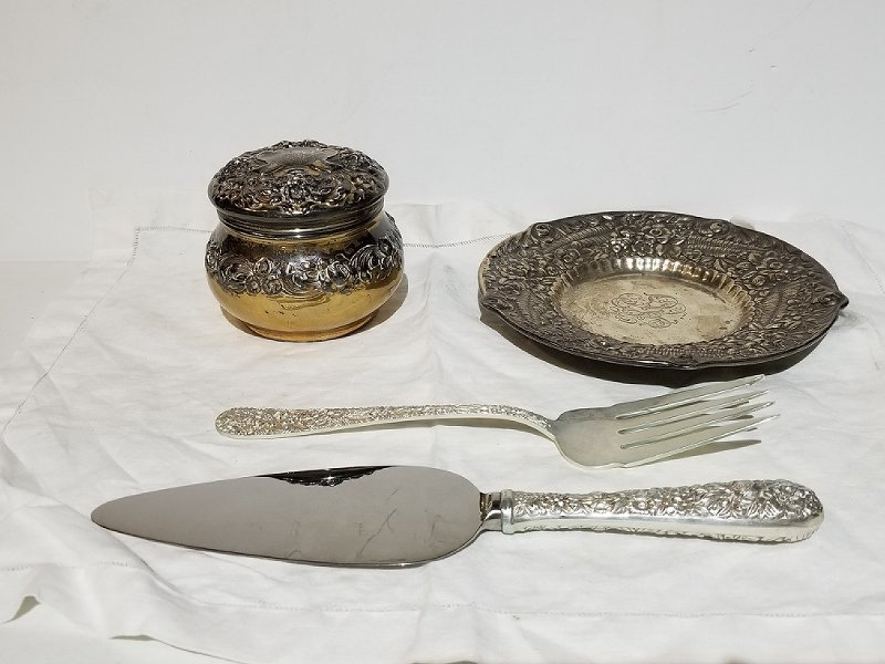 Tiffany & Co sterling dish and other silver items