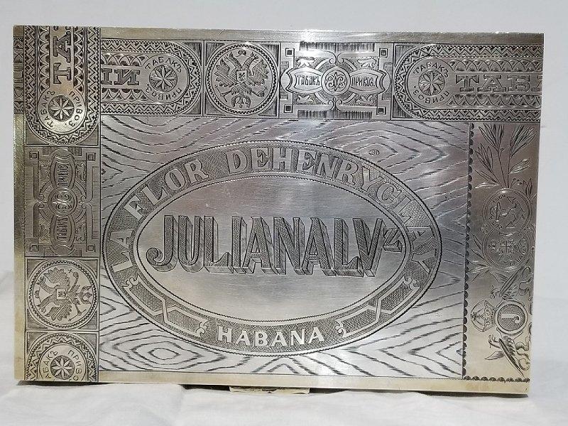 Russian silver trompe l'oeil Cuban cigar box, c.1915