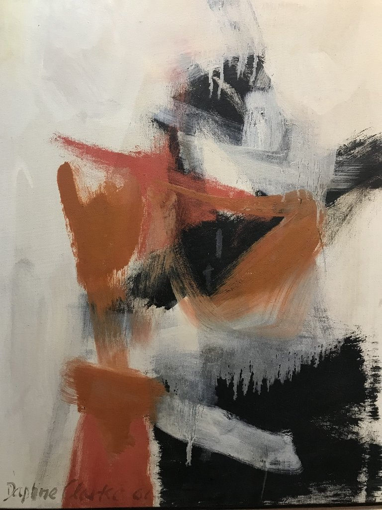 Abstract painting by Daphne Clarke 1961-label - 4