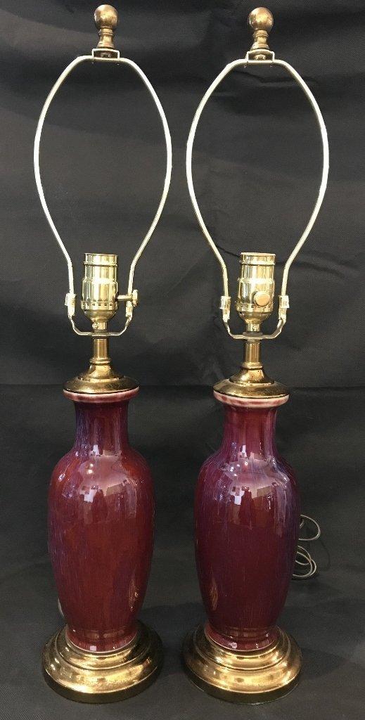 Pair of Sang de Boeuf lamps