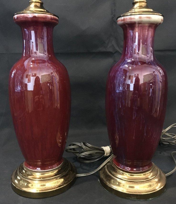 Pair of Sang de Boeuf lamps - 2