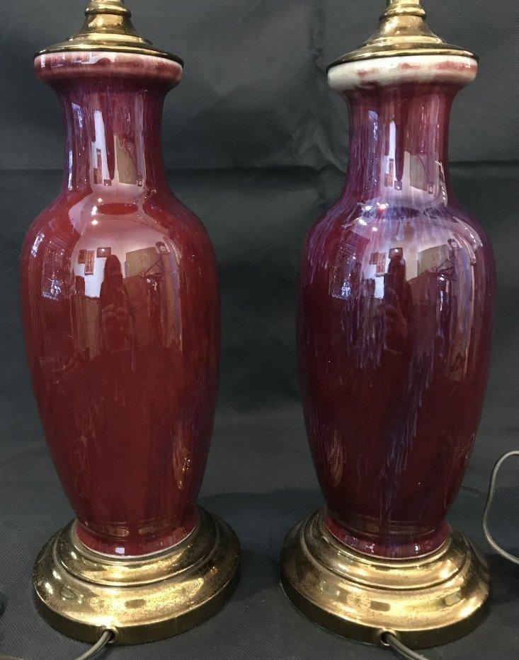 Pair of Sang de Boeuf lamps - 3