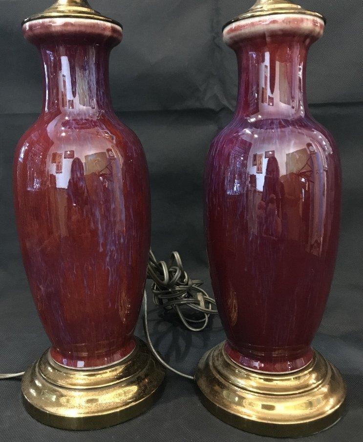 Pair of Sang de Boeuf lamps - 4