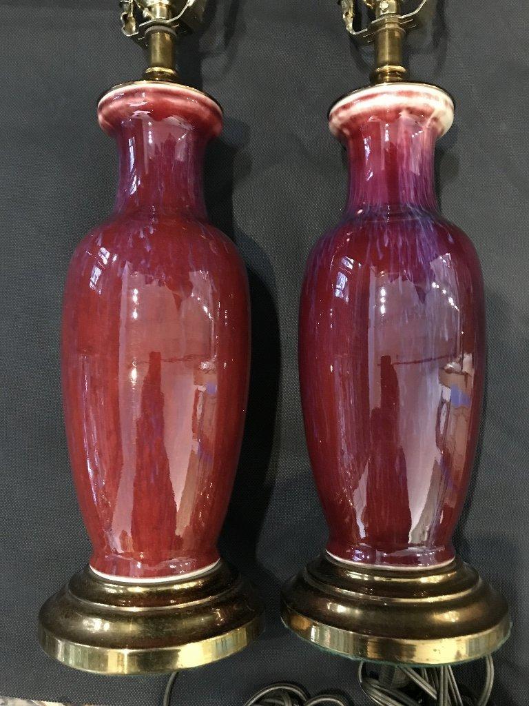 Pair of Sang de Boeuf lamps - 9