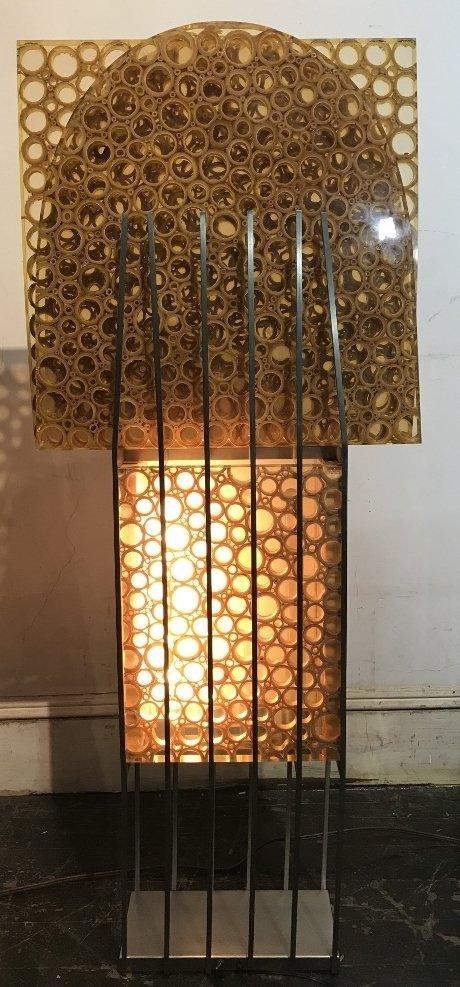 Unusual modern lamp, bamboo in resin, c.1965