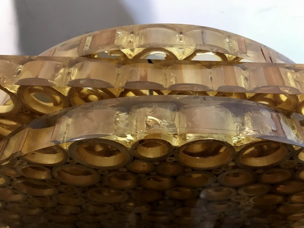 Unusual modern lamp, bamboo in resin, c.1965 - 9