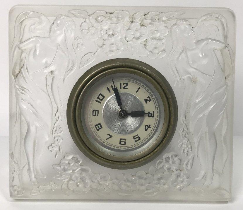 Lalique style glass clock, c.1930