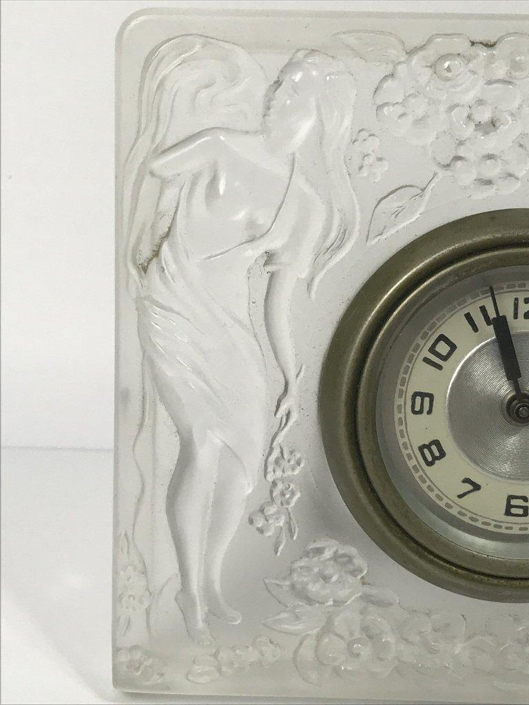 Lalique style glass clock, c.1930 - 3