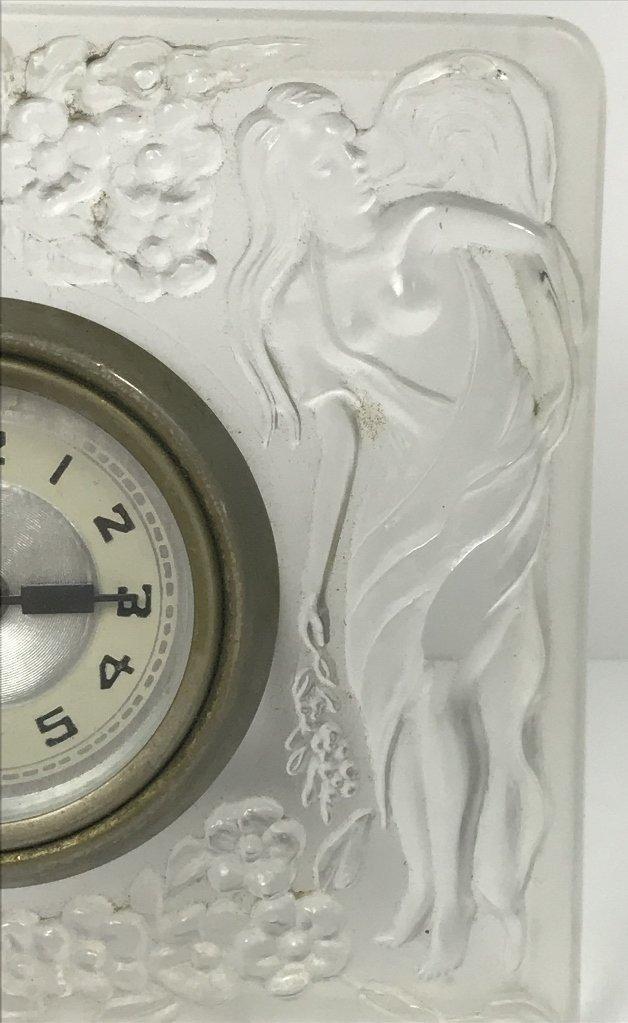 Lalique style glass clock, c.1930 - 4